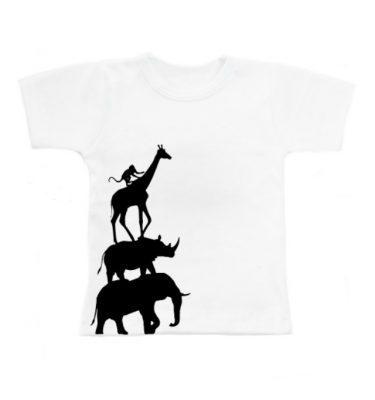 wit t-shirt met dieren silhouette