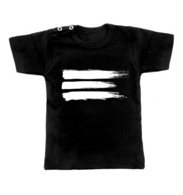 zwarte baby t-shirt met verfstrepen