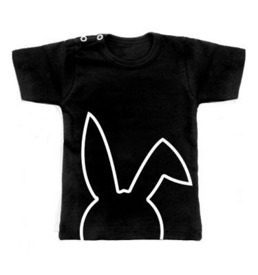 zwarte t-shirt met konijntjes opdruk