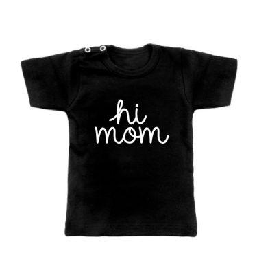 zwarte hi mom t-shirt